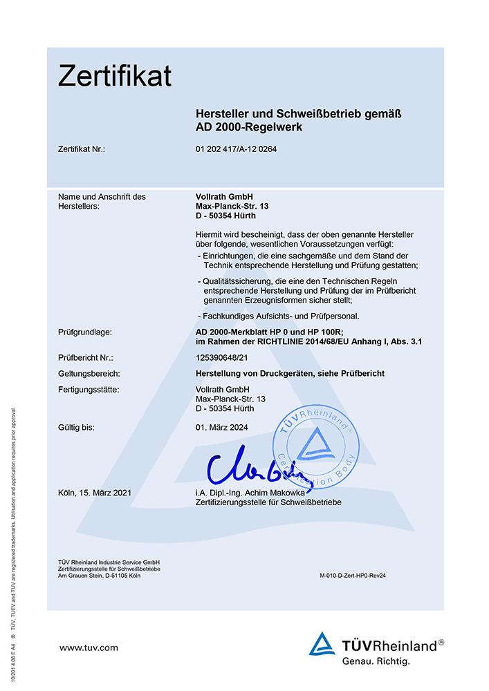 Überprüfung als Hersteller und Schweißfachbetrieb nach AD 2000-Merkblatt HP 0 und DIN EN ISO 3834-3