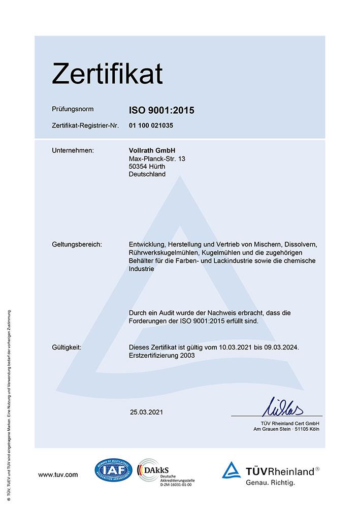 Zertifikat für das Qualitätswesen nach ISO 9001