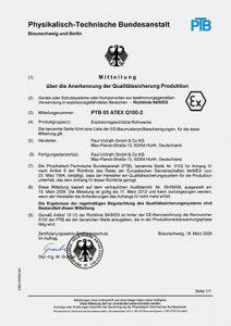 PTB-Baumusterprüfbescheinigung nach ATEX für Dissolver