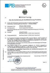 PTB-Baumusterprüfbescheinigung nach ATEX