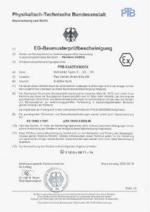 Baumusterprüfbescheinigung nach ATEX für Dissolver und Mischer / Rührwerke